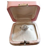 Vintage French Platinum Old Cushion Cut Diamond Ring Art Deco