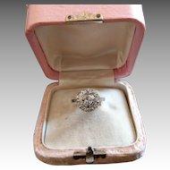 Vintage French Platinum Old Cushion Cut Diamond Ring Art Deco