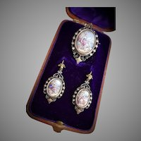 Antique French Georgian 18k Gold Enamel Parure Earrings Locket Pendant / brooch