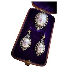Antique French Georgian 18k Gold Enamel Parure Earrings Locket Pendant / brooch
