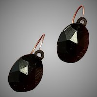 Antique Mourning 18k Gold French faceted Jet Dormeuse Earrings