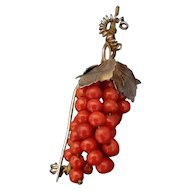 Antique Coral Grape Silver Gilded Brooch / Pin