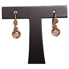 Antique French 1900 Gold Filled FIX & Paste Leverback Dormeuse Earrings