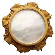 Art Nouveau Gold Plated FIX Ivy Brooch Antique French Mother of Pearl