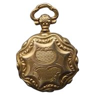 Victorian Silver Gilded Pocket Watch Style Photo Locket Pendant