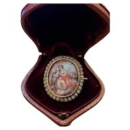 Victorian 18k Gold Enamel Brooch Girl With Cat Reliquary Locket