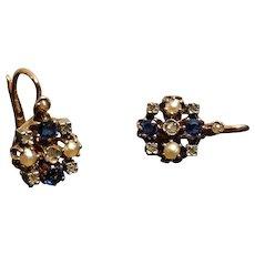 Antique 18k Gold Pearl Doublet Rose Diamond Dormeuse Earrings French