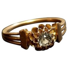 Mid 19th C. 18k Rose Gold RingWith Paste