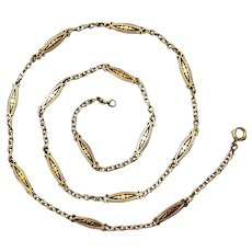Victorian French 18k Gold Long Chain Necklace