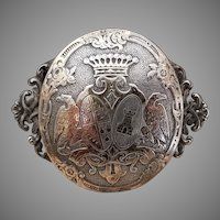 Georgian Antique French Silver and Silver Gilded Coat of Arms Brooch Count's Crown