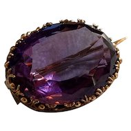 Antique Georgian 18k Gold Amethyst Brooch