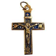 Antique Georgian French 18k Gold Enamel cross Pendant