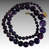 Early Victorian Amethyst Beads 18k Gold Sentimental Clasp Necklace