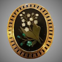Antique 18k gold Enamel Pietra Dura Brooch Lily of the Valley Pattern