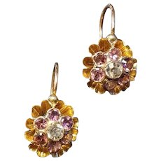 Antique 18k Gold Garnet Paste Dormeuse Earrings French