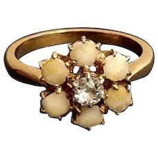 Victorian 18k Gold Diamond Sentimental Ring French