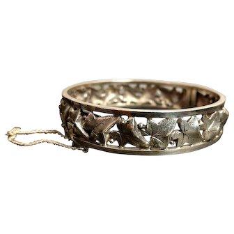 Antique Art Nouveau Ivy Silver Bracelet Signed French