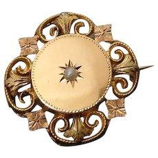 Antique Edwardian 18k Gold Brooch Natural Pearl