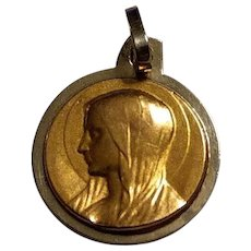 French Vintage 18k Gold Virgin Mary Religious Medal