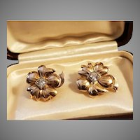 Vintage French 18k Gold Flower Earrings Set with Diamonds