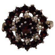 Large Antique Bohemian Garnet Pearl Silver Ring