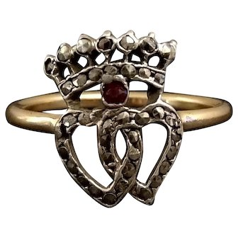 Antique 18k Gold & Silver Ring Double Heart & Crown Ruby Marcasite