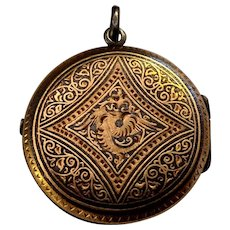 Antique Damascene Steel Reliquary Locket Pendant Chimera Pattern
