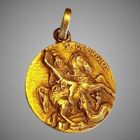Vintage French 18k Gold Saint George Slaying the Dragon Medal Charm Pendant