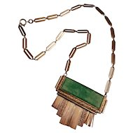 Vintage Art Deco Chrome Galalith Necklace