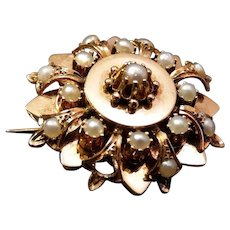 Antique French 18k Gold Pearls Brooch Pin
