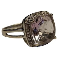 French Estate 18k White Gold Amethyst Diamond Ring