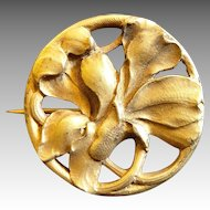 Art Nouveau French Brass Gilded Signed  Flower Brooch