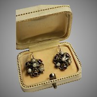 Antique Victorian Austro Hungarian Silver & Gold Earrings Garnet And Pearls