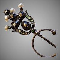 Antique Silver Diamond Rose Cut / Emerald Fibula Brooch
