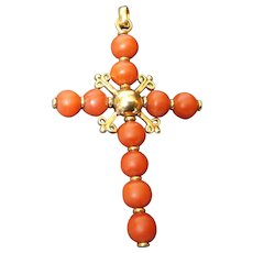 19th C French Red Coral 18k Gold Cross Pendant
