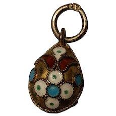 Antique Silver Gilded Enamel Egg Charm Pendant