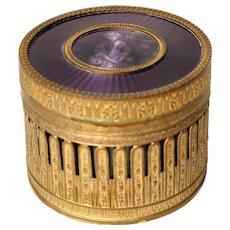 French gilt bronze and enamel box