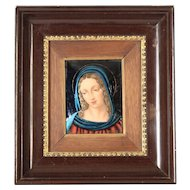 Limoges enamel on copper plaque of the Virgin Mary