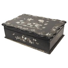 Victorian paper mache box with mother of pearl inlay