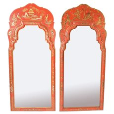 Matched pair of George I style red chinoiserie decorated mirrors