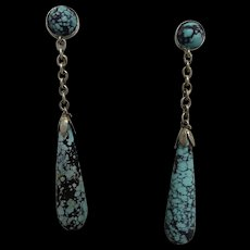 Antique Victorian Genuine Turquoise Sterling Silver Drop Earrings