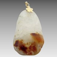 14k Gold Chinese Carved Translucent Jade Pendant for Necklace