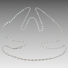 ON HOLD Art Deco European Platinon Crystal Paste Open Back Bezel Set Muff Guard Chain Necklace
