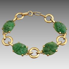 Retro 14K Gold Chinese Carved Natural Jadeite Jade Bracelet