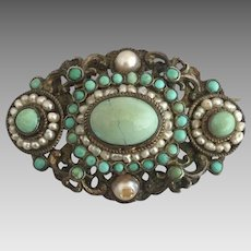 Antique Victorian Hungarian Austro Turquoise Seed Pearl Gilded Silver Brooch Pin