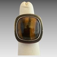 Vintage Modernist Sterling Silver Tigers Eye Ring