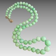 9K Gold Jadeite Jade Glass Beaded Necklace