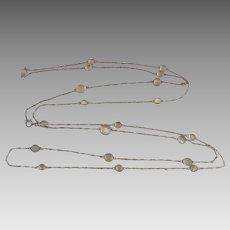Antique Edwardian Sterling Silver Glowing Moonstone Guard Chain Necklace