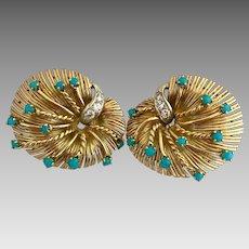 Retro 18k Gold Diamond Natural Persian Turquoise Signed Earrings