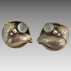 Georg Jensen Sterling Silver Glowing Moonstone Earrings